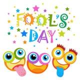 Première carte de voeux de sourire d'April Fool Day Happy Holiday de visage Images stock