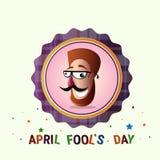 Première carte de voeux de sourire d'April Fool Day Happy Holiday de visage illustration stock