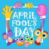 Première carte de voeux de sourire d'April Fool Day Happy Holiday de visage Photographie stock libre de droits