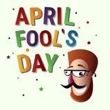 Première carte de voeux de sourire d'April Fool Day Happy Holiday de visage Images libres de droits