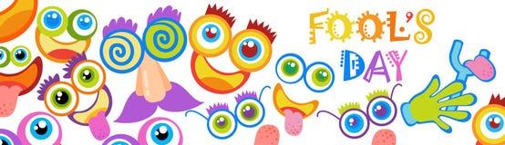 Première carte de voeux de sourire d'April Fool Day Happy Holiday de visage Photos stock