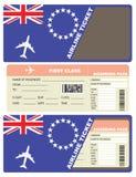 Première classe de billet d'avion dans le cuisinier Islands Images libres de droits
