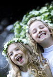 Première communion - les filles heureuses Photos libres de droits
