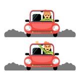 Première fois de femme derrière la roue de la voiture rouge illustration stock