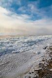 Première glace sur le fleuve Photo libre de droits