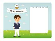 Première invitation d'enfant de communion sur le fond de ciel bleu illustration de vecteur