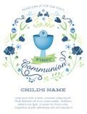 Première invitation de sainte communion de garçons bleus et verts avec le calice et les fleurs illustration stock