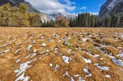 Première neige en vallée de Yosemite Image stock
