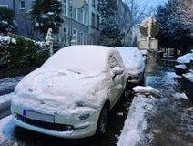 Première neige, Francfort Photo stock