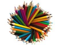 Première vue colorée de crayons Image libre de droits