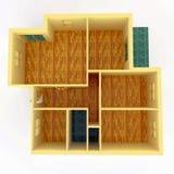 Première vue d'appartement avec des murs Image stock