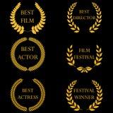Premi del film Corone rotonde dorate dell'alloro illustrazione vettoriale