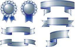 Premi del nastro d'argento e blu Fotografie Stock Libere da Diritti