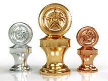 Premi della rotella dell'oro, dell'argento e del bronzo illustrazione di stock