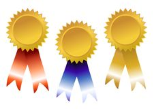 Premi di colore rosso, dell'azzurro e dell'oro Fotografia Stock
