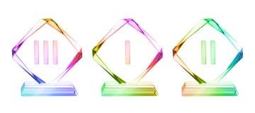 Premi di cristallo della placca messi Fotografie Stock
