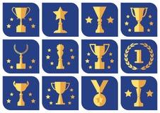 Premi e tazze su un fondo blu, insieme di vettore illustrazione di stock