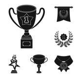 Premi ed icone nere dei trofei nella raccolta dell'insieme per progettazione La ricompensa ed il risultato vector l'illustrazione Immagine Stock Libera da Diritti