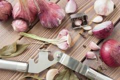 Premi l'aglio, l'aglio rosso e le spezie Fotografia Stock