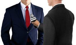 Premi l'intervista con l'uomo d'affari Fotografie Stock