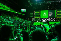Premi la riunione all'informazione di media di Xbox Fotografie Stock Libere da Diritti
