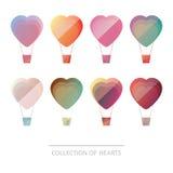 Premia kolorowy set geometryczni balonów serca Obrazy Stock