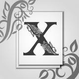 Premia list X z Eleganckim kwiecistym konturem dla inicja?u logo List X odizolowywaj?cy na nowo?ytnej karcie Og?lnoludzki symbolu ilustracji