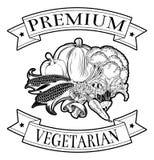 Premie vegetarisch pictogram Royalty-vrije Stock Afbeelding
