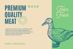 Premiekwaliteit Duck Meat Abstract Vectorvlees Verpakkingsontwerp of Etiket Moderne Typografie en Hand Getrokken Eend Stock Illustratie