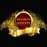 Premiekwaliteit gewaarborgd gouden etiket met kroon en lauwerkrans geïsoleerd op zwarte vectorillustratie als achtergrond Uitstek stock afbeeldingen