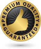 Premiekwaliteit gewaarborgd gouden etiket, vectorillustratie Stock Afbeeldingen