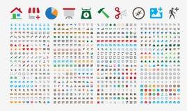 800 premiepictogrammen Ronde hoeken Vlakke kleuren Stock Foto