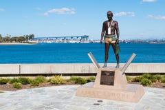 Premier à terre statut avec le pont de baie de San Diego-Coronado Photographie stock libre de droits