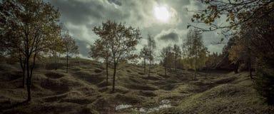 Premier champ de bataille de guerre mondiale, Froideterre, Verdun, France Photos stock