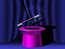 Premier chapeau de magicien et baguette magique de magie illustration stock