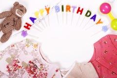 Premier concept de l'anniversaire du bébé Photos stock