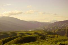 Premier coucher du soleil de montagne Photo stock