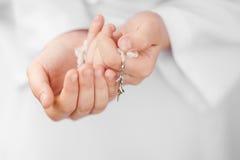 Premier détail de chapelet de sainte communion Images libres de droits