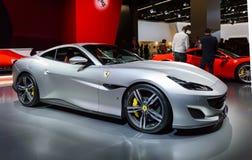 Premier do carro de esportes de Ferrari Portofino na exposição automóvel de IAA Francoforte fotografia de stock