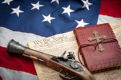 Premier et deuxième amendement dans le système de justice américain, le juridique Photos libres de droits