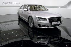 Premier híbrida de Audi A8 - demostración 2010 de motor de Ginebra Foto de archivo
