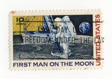 Premier homme sur l'estampille de lune Image libre de droits