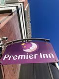 Premier Inn hotel. Premier Inn is a British hotel chain and the UK`s largest hotel brand, with more than 72,000 rooms and 785 hotels. It operates hotels in a stock photography