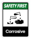 Premier isolat corrosif de signe de symbole de sécurité sur le fond blanc, illustration de vecteur illustration libre de droits