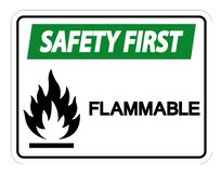 Premier isolat inflammable de signe de symbole de sécurité sur le fond blanc, illustration de vecteur illustration stock