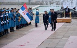 Premier Japonii Shinzo Abe w oficjalnej wizycie republika Serbia Zdjęcie Royalty Free