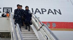 Premier Japonii Shinzo Abe w oficjalnej wizycie republika Serbia Fotografia Royalty Free