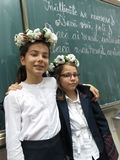 Premier jour de filles à l'école Photographie stock libre de droits