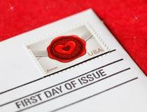 Premier jour de question pour le timbre d'amour des Etats-Unis Image stock