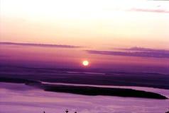 Premier lever de soleil sur la montagne de Cadillac en parc national d'Acadia photo libre de droits